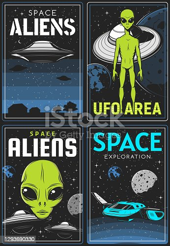 istock Retro posters with alien and ufo area vector cards 1293690330