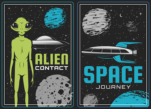 Retro posters with alien and ufo vector cards