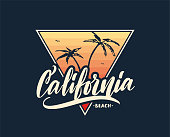 Vector illustration: Retro print with handwritten lettering of California Beach and palm tree on sunset background. T shirt design