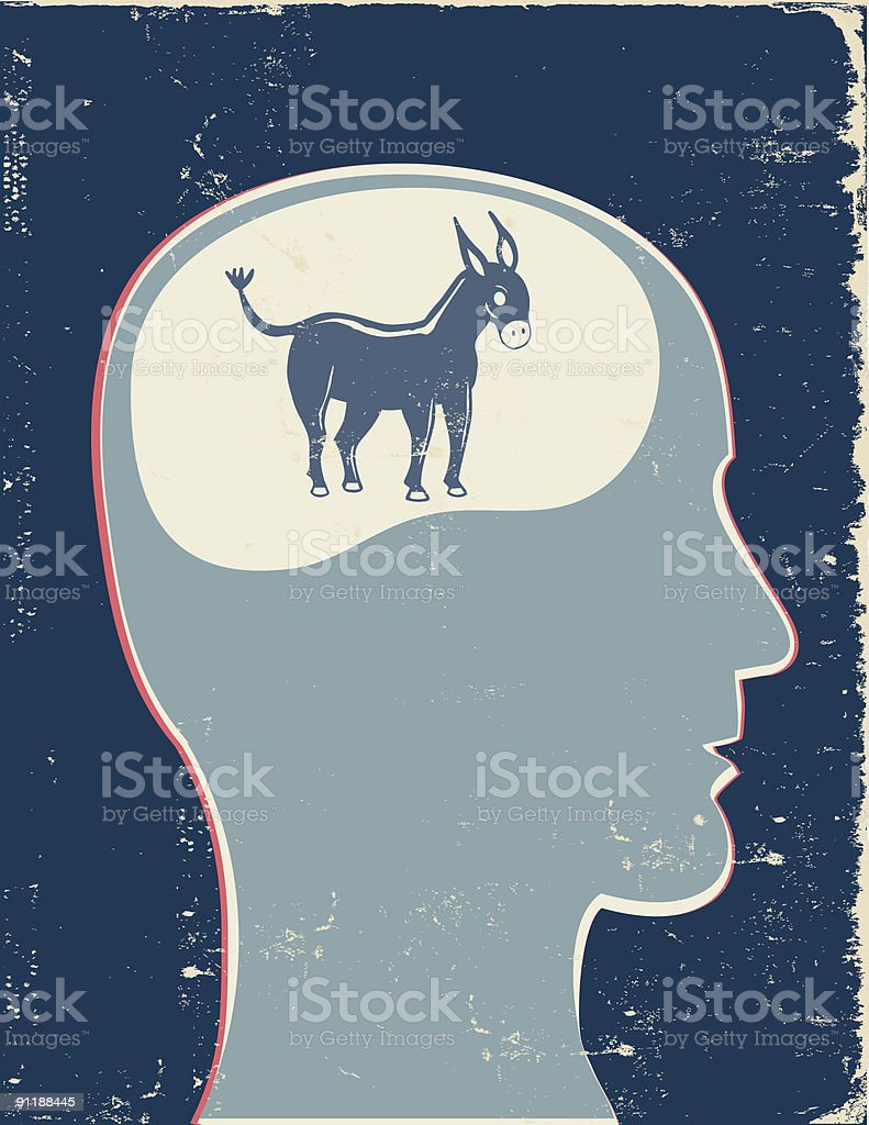 Retro Profile with Democrat Mascot royalty-free stock vector art