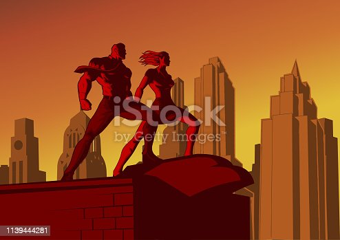 A retro propaganda poster style illustration of a couple of worker standing on arooftop at dusk wih city skyline in the background. Wide space available for your copy.