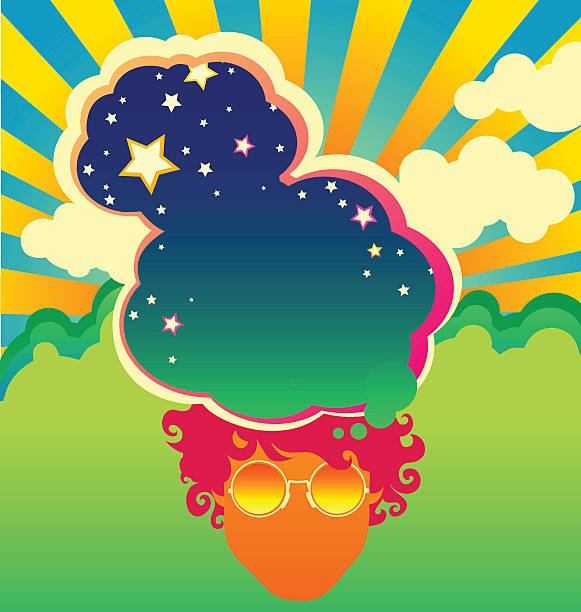 retro psychedelic poster template inspired by 1960s pop art vector art illustration