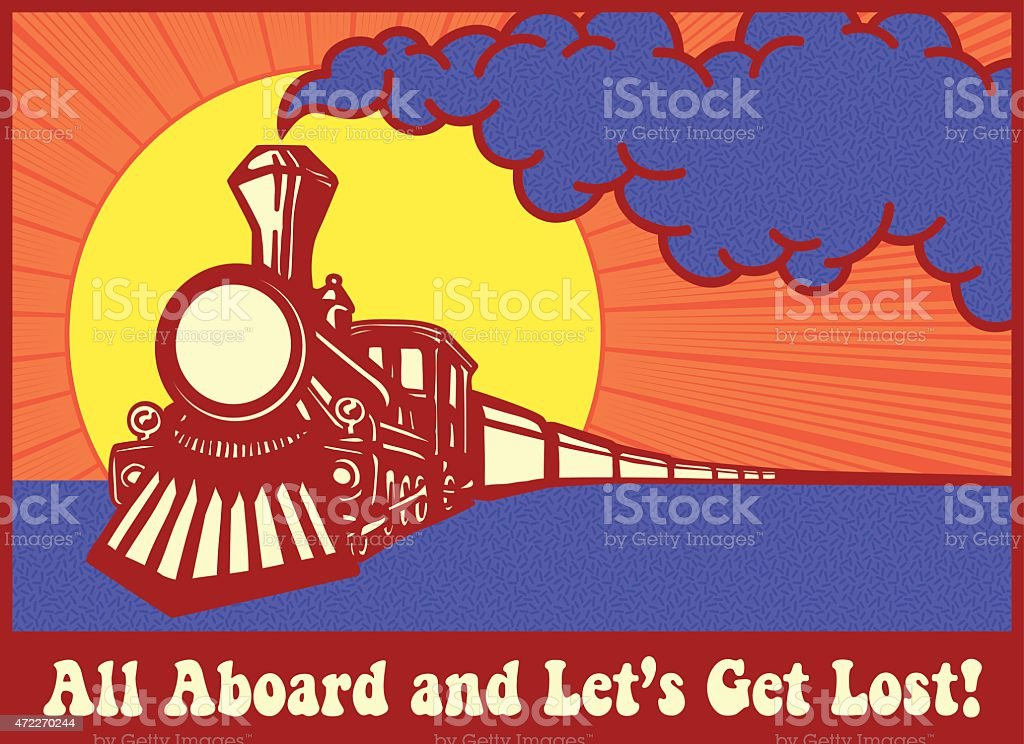 Retro puffing steam train engine at sunset, next stop: anywhere! vector art illustration
