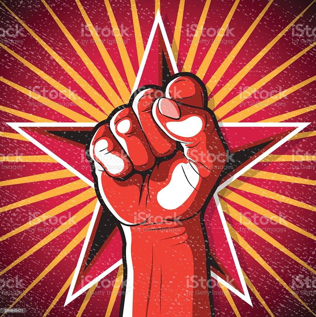 Retro Punching Fist Sign. - Royalty-free 2015 stock vector