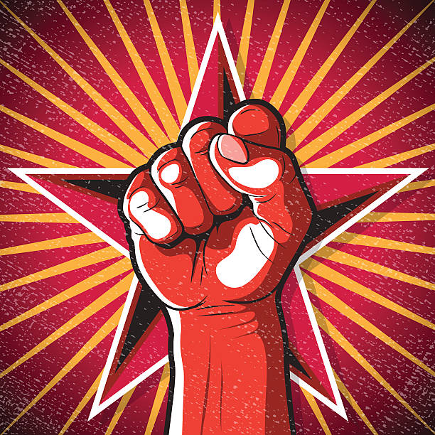 Retro Punching Fist Sign. vector art illustration