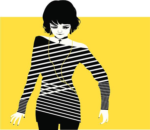 retro/punk-mädchen - kreuzkette stock-grafiken, -clipart, -cartoons und -symbole