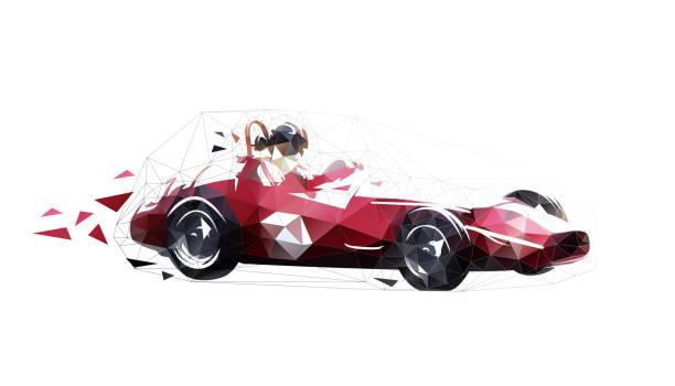 復古賽車,低多邊形隔離向量插圖。紅色老配方車的幾何圖紙。側視圖 - formula 1 幅插畫檔、美工圖案、卡通及圖標