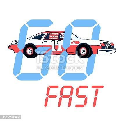 Retro racing car t-shirt design. Hand drawn sport car, Pen graphic.