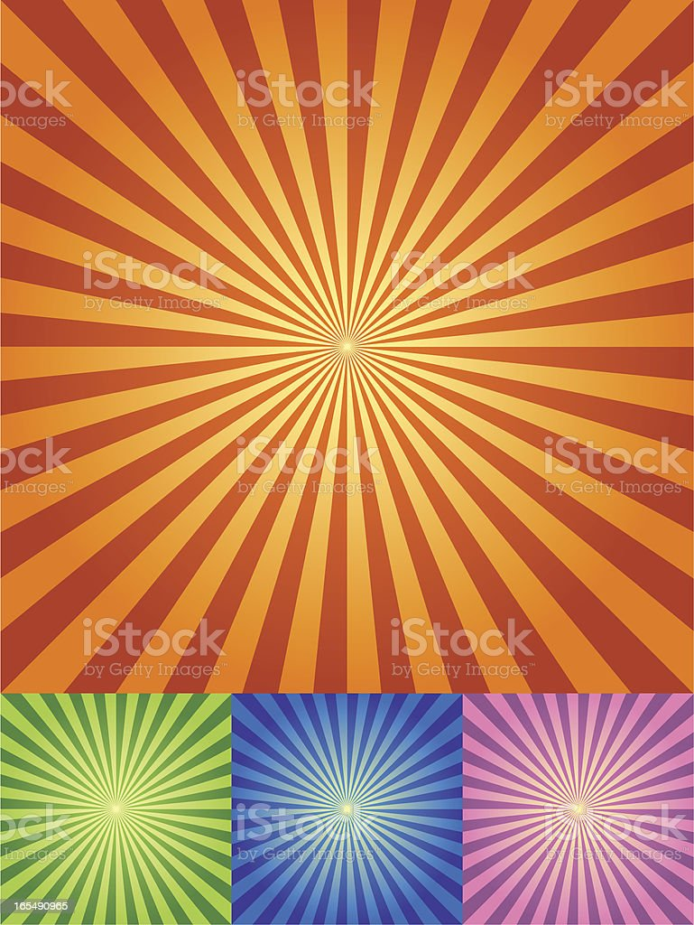 Retro Radial Background in four color sets royalty-free retro radial background in four color sets stock vector art & more images of abstract