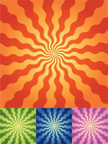 Retro Radial Wave Background in 4 color sets