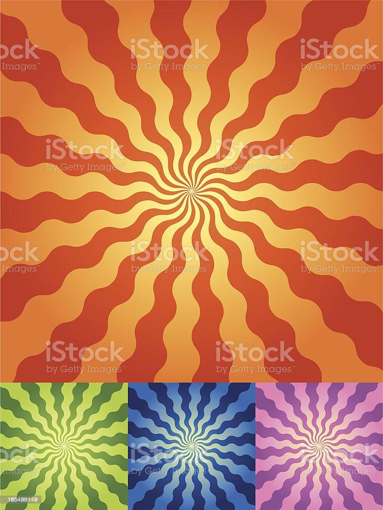 Retro Radial Wave Background in 4 color sets vector art illustration