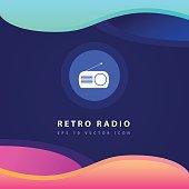 Retro radio icon design on modern flat background