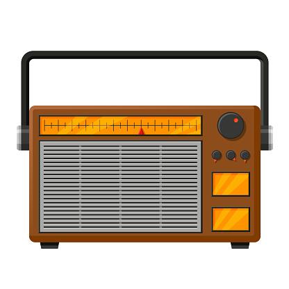 Retro radio realistic vector isolated illustration icon