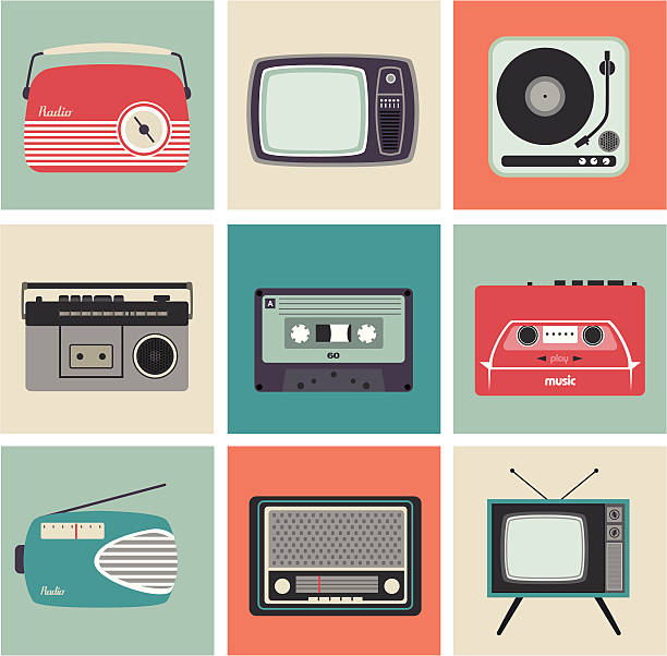 retro radio, tv and other electronic equipment - 1960s style stock illustrations, clip art, cartoons, & icons