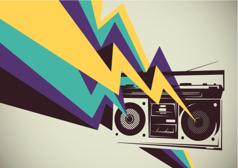 Retro radio with colorful abstraction.