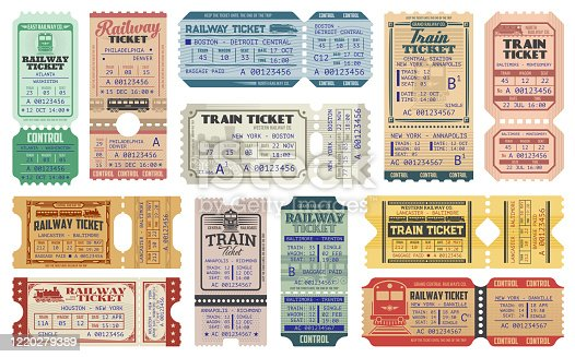 Railway tickets, vector train travel passes, vintage cardboard and carton paper tickets. USA American railway train tickets to central station destination city, seat number and control stamps