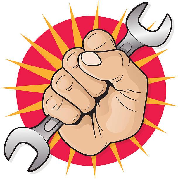 Retro Raised Punching Fist with Spanner. vector art illustration