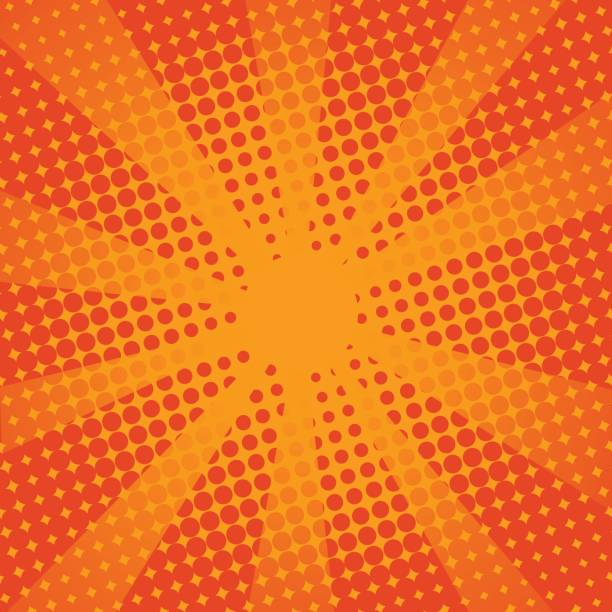 Retro Strahlen Comic-orangem Hintergrund. – Vektorgrafik