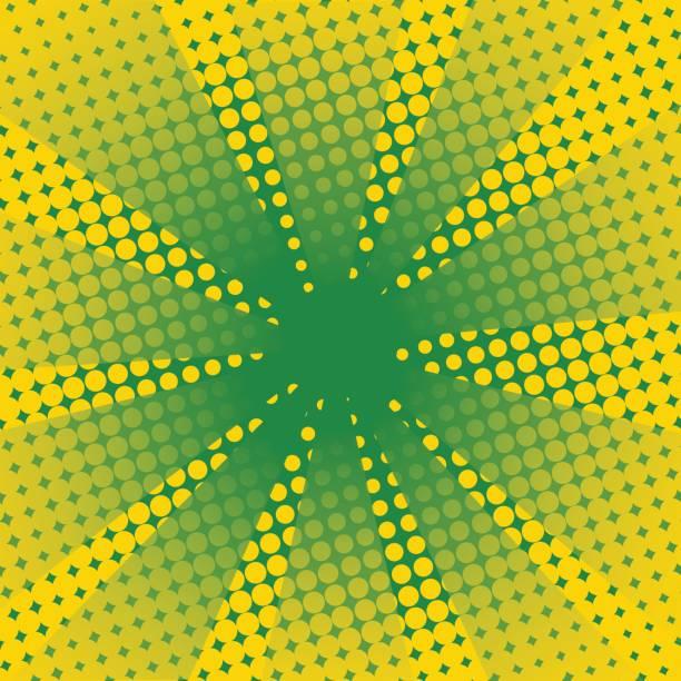 Retro Strahlen comic gelb grün hinterlegt. – Vektorgrafik