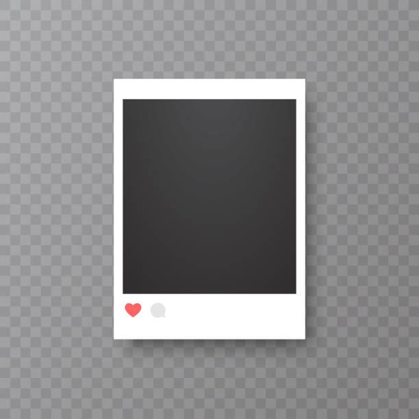illustrazioni stock, clip art, cartoni animati e icone di tendenza di retro realistic vector photo frame or social media template. placed on transparent background vector illustration. - foto