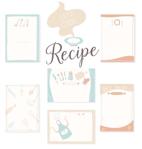Retro recipe card template set for cookbook. Menu creator vector illustration. Kitchen food template Retro recipe card template set for cookbook. Menu creator vector illustration. Kitchen food template cooking borders stock illustrations