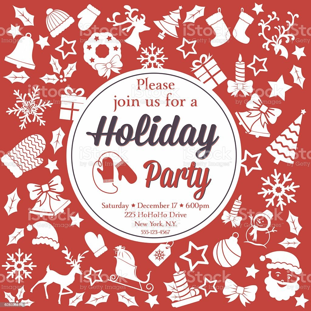 Retro Red And White Christmas Party Invitation Template stock vector ...