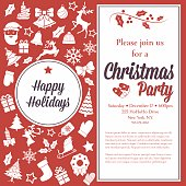 Christmas Party Invitation Template. An area of text with lots of retro holiday icons in red and white.