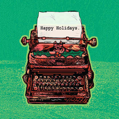 Retro red antique typewriter with Holiday theme