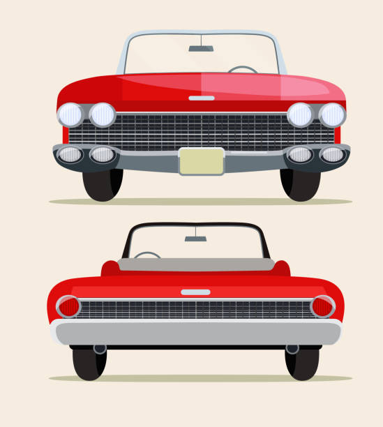 Retro red car vintage isolated. Front and rear view. Vector flat style illustration Retro red car vintage isolated. Front and rear view. Vector flat style illustration convertible stock illustrations