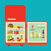 Retro Red Opened Refrigerator Full Of Food. Vector flat Illustration