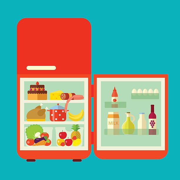retro-rot eröffnete kühlschrank. vektor flache illustrationen - kühlschränke stock-grafiken, -clipart, -cartoons und -symbole