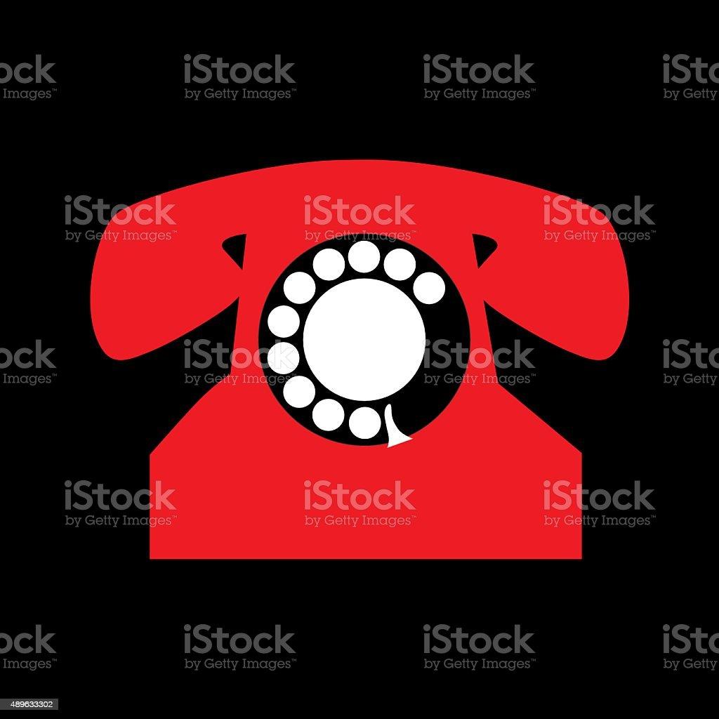 Retro Red Phone Icon vector art illustration