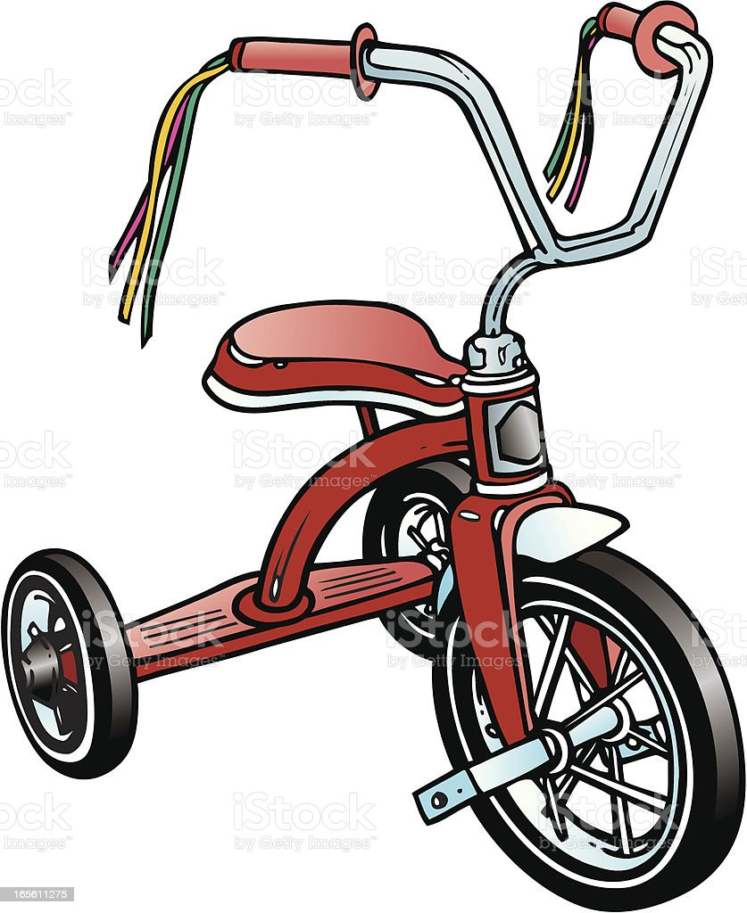Retro - Red Tricycle vector art illustration