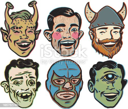 these are like the title says, rejects of some sorts. from top left to bottom right.  Retro Mars man, Wooden puppet, Irish Viking, the Local Crackhead, Lucha Libre light weight, and Good'Ol Mr.Cyclops the proctologist.