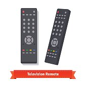 Retro remote control at different angles. Flat style illustration. EPS 10 vector.