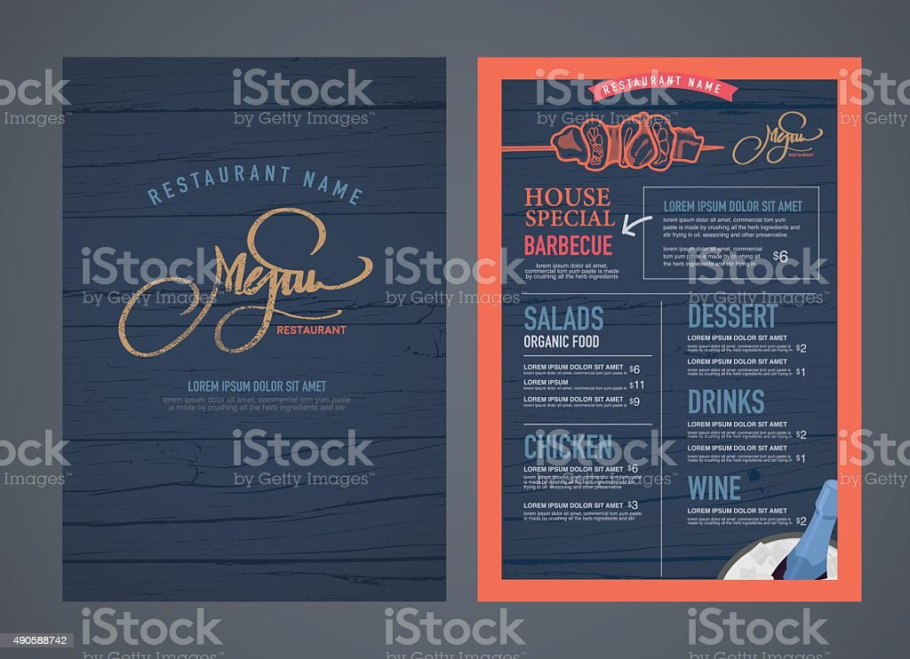 Retro restaurant menu design and wood texture background.. vector art illustration
