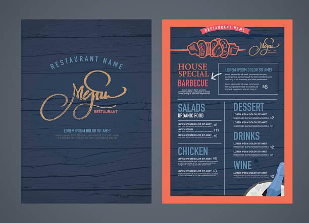 Retro restaurant menu design and wood texture background.. vector art illustration