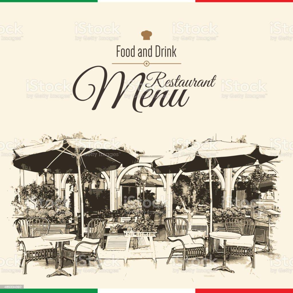 Retro restaurant menu design. With a sketch picture vector art illustration