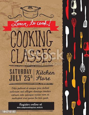 istock Retro revival cooking classes design template 184216192