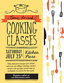 Vector illustration of a 'Cooking Class' poster design template. Includes design elements such as cooking pot, spatula, fork, knife, spoon, whisk and glass on paper bag texture. Lot's of hand drawn text and sample text designs to use.