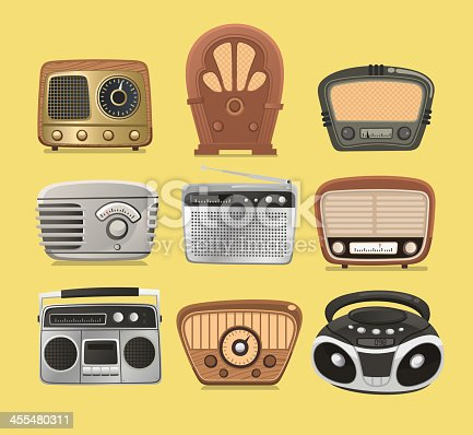 Retro revival radios hi fi tuner broadcasting system vector illustration.