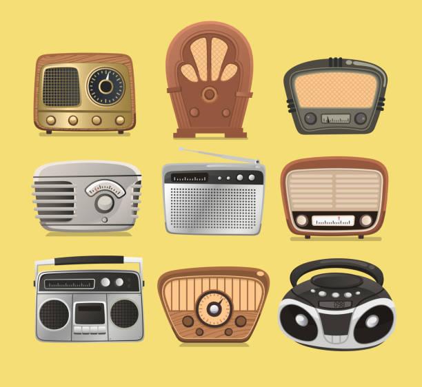 Retro Radio HIFI Radiodeck broadcasting system – Vektorgrafik