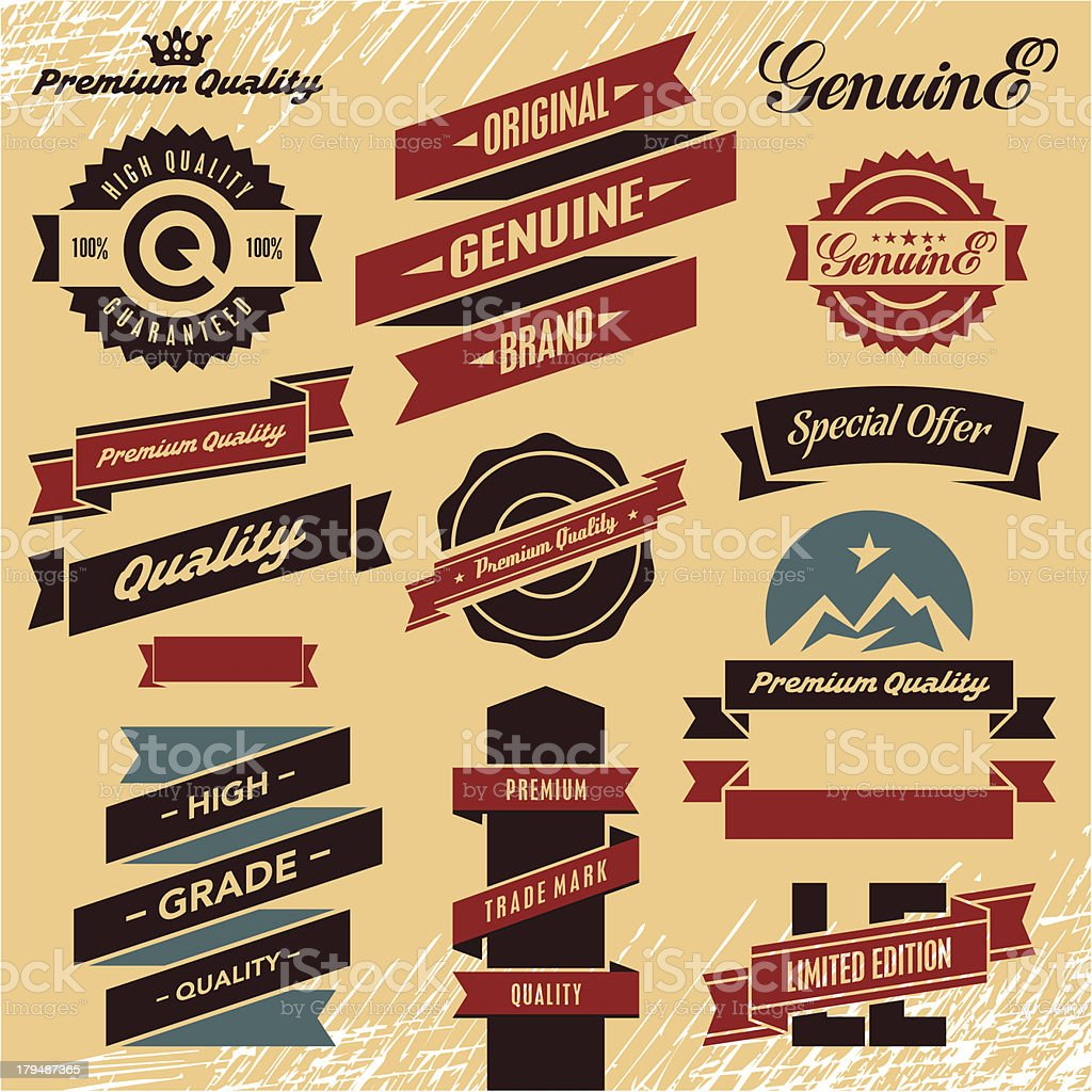 Retro ribbons and labels set royalty-free stock vector art