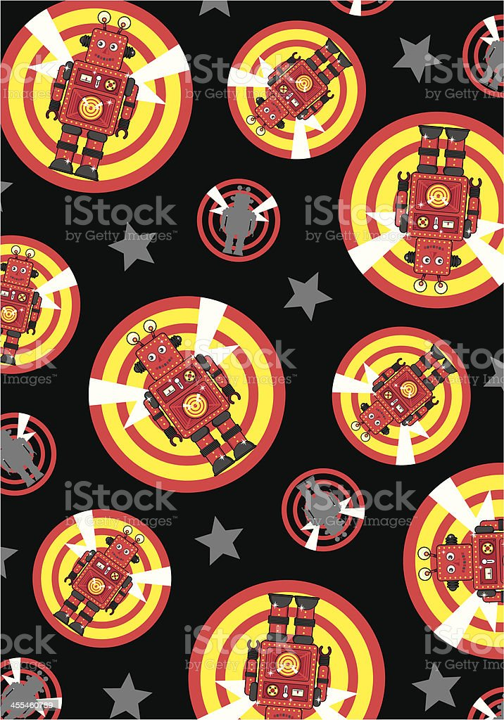 Retro Robot Character Icon and Target Sign Repeat royalty-free stock vector art