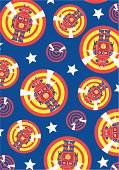 Cool blue robot character icon on target sign repeat pattern. Ideal for little boys.