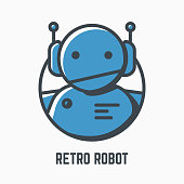 Retro robot line illustration. Blue android with headphones and antennas. Mono color vector. icon, mascot or icon of old-fashioned bot. Lights and shadow style. Linear modern, trendy vector banner.
