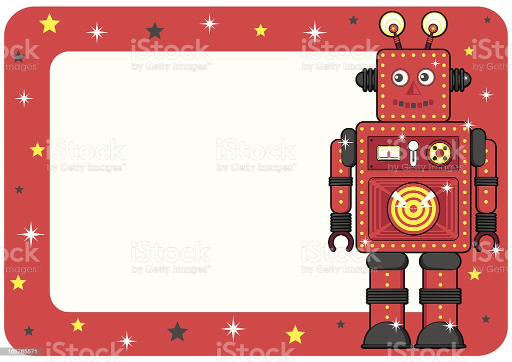 Retro Robot Invite or Place Card royalty-free stock vector art