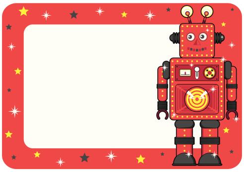 Retro Robot Invite or Place Card