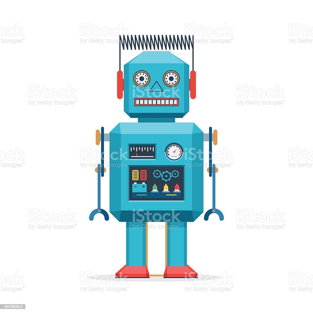 Retro robot vintage toys vector art illustration