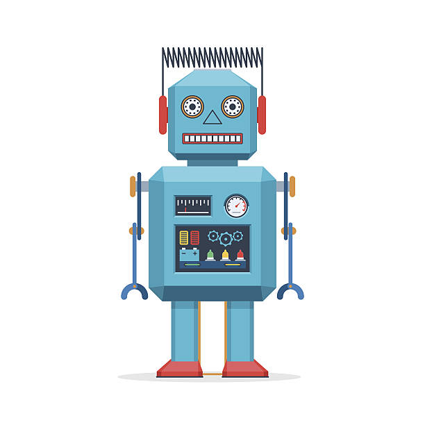 retro robot vintage toys - robotics stock illustrations, clip art, cartoons, & icons